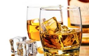 Картинка кубики, виски, бутылка, бокалы, лед