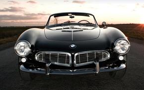 Картинка дорога, поле, небо, закат, чёрный, бмв, BMW, спорткар, кабриолет, передок, 1957, Series 2, 507, красивая ...