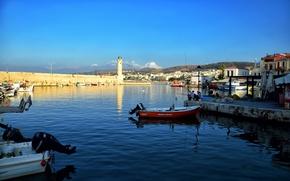 Картинка море, рыбалка, маяк, лодки, Греция, Ретимно, Крит