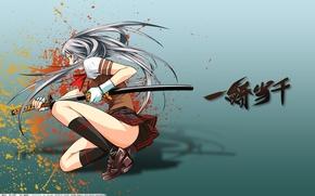 Обои девушка, юбка, меч, катана, Ikkitousen