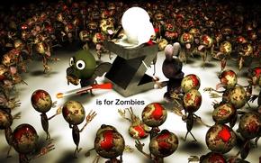 Картинка заяц, зомби, противогаз, ружье, буква