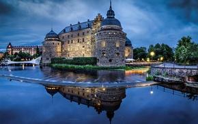 Картинка небо, вода, отражение, река, замок, вечер, освещение, архитектура, Швеция, Sweden, Sverige, Эребру, Örebro slott