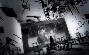 Обои черно-белая, фото, стулья, комната, воспоминания