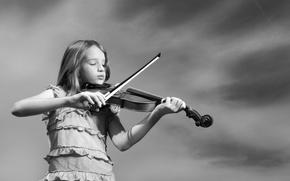 Обои музыка, настроение, скрипка, девочка
