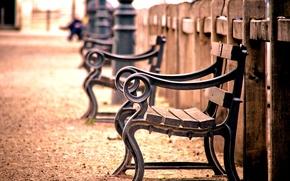 Картинка макро, скамейка, фон, widescreen, обои, настроения, забор, размытие, ограда, ограждение, лавочка, лавка, деревянный, wallpaper, скамья, …