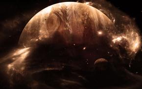 Картинка звезды, свет, планета, спутник, газовый гигант