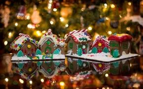 Обои домики, праздник, год, пряничные, огни, гирлянды, елка, настроение, еда, новый