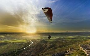 Картинка пейзаж, закат, спорт, парапланеризм, полеты на параплане
