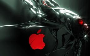 Картинка абстракция, блеск, apple, яблоко, пришелец, эмблема