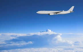 Картинка небо, свобода, облака, авиация, пейзажи, утро, самолёт, sky, просторы, clouds, airplanes