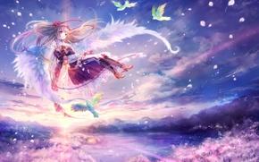 Картинка крылья, ангел, аниме, сакура, птички
