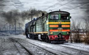Обои hdr, зима, локомотив, железная дорога