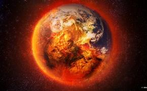 Картинка звезды, огонь, земля, планета