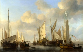 Картинка картина, лодка, корабли, парусник, порт, море, облака, небо, парус, пейзаж