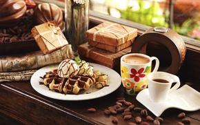 Картинка кофе, окно, мороженое, вафли, коробки