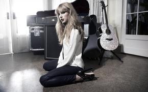 Картинка девушка, фон, комната, гитара, Taylor Swift, Тейлор Свифт, красотка.певица