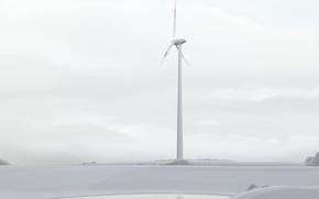 Картинка минимализм, вектор, ветряк