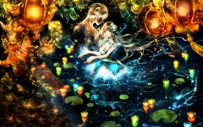 Картинка вода, девушка, свечи, аниме, арт, фонари, парень, Yuki*mami
