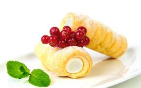 Картинка ягоды, еда, крем, десерт, смородина, выпечка, сладкое, sweet, cream, dessert, berries, currants, baking