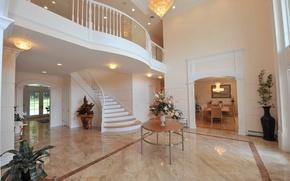 Картинка дизайн, стиль, вилла, интерьер, холл, Villa, New Jersey, жилое пространство, Mediterranean Style
