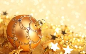 Картинка игрушка, Новый Год, праздники, зима, золотой, елочная, боке, New Year, Christmas, шар, блестки, узоры, звездочки, ...
