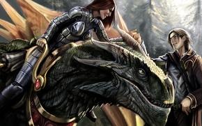 Обои дракон, Heroes of ravine, девушка, парень