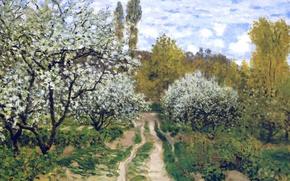 Обои пейзаж, картина, весна, сад, Клод Моне, Деревья в Цвету