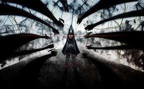 Картинка магия, ведьма, сражение, красные глаза.тени, Sayaka Miki, Mahou shoujo Madoka magica