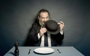 Картинка человек, шляпа, тарелка
