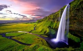 Обои Исландия, зелень, скалы, Seljalandsfoss, водопад