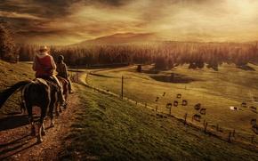 Картинка поле, лес, животные, пейзаж, люди, тропа, лошади, горизонт, пастбище, холм, железная дорога, наездники, всадники, высокогорье, …
