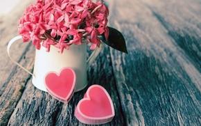Обои цветы, розовые, сердца, сердечки, стол