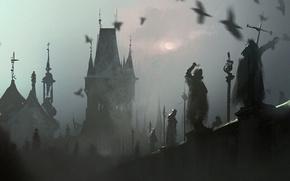 Картинка мост, туман, bridge, art