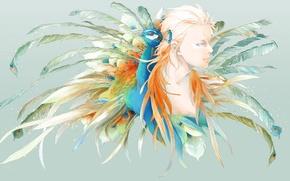 Картинка перья, павлин, парень, art