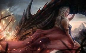 Обои Девушка, Дракон, Блондинка, Волосы, Арт, Фильмы, Game of Thrones, Игра престолов, Emilia Clarke, Daenerys Targaryen, ...
