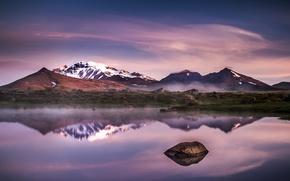 Картинка горы, озеро, вечер, Исландия