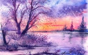 Обои нарисованный пейзаж, акварель