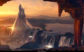 Картинка небо, вода, облака, скала, люди, птица, планета, башня, водопад, rock, tower, sky, waterfall, planet, peoples, …
