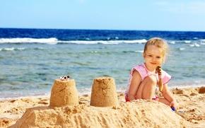 Обои маленькая девочка, берег, sea, песок, море, child, Little girls, Coast