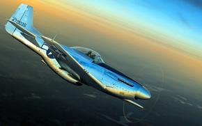Картинка рисунок, Mustang, арт, ВВС США, North American, P-51D