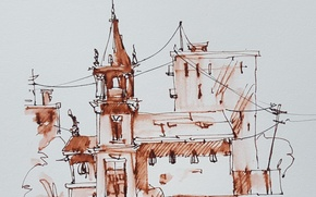 Картинка город, краски, рисунок, акварель