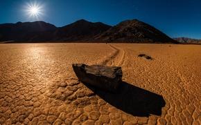 Картинка пустыня, камень, след, утро