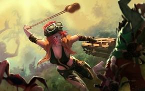 Картинка девушка, рисунок, краб, бой, арт, зомби, ловушка, рыжая, girl, zombie, битва, art, fight, redhead, Dead ...