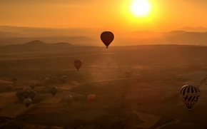 Картинка пейзаж, закат, шары, спорт