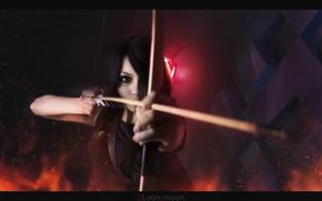 Обои girl, девушка, Кристина Финк, косплей, стрела, лук
