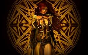 Картинка поза, Девушка, доспехи, символ, воительница, ремни
