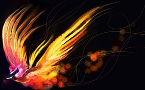 Картинка птица, арт, феникс, Dota 2, Phoenix