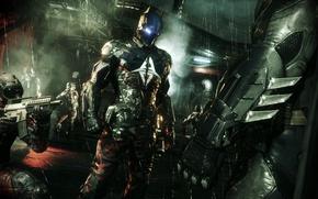 Картинка ночь, город, оружие, дождь, луна, костюм, Готэм, Рыцарь Аркхема, Batman: Arkham Knight