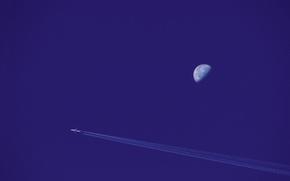 Обои луна, небо, самолёт