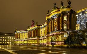 Обои ночь, огни, Германия, площадь, Берлин, старушка библиотека